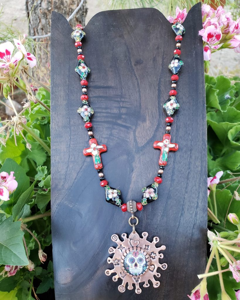 The Art of Covid- Dia de los Muertos Necklace